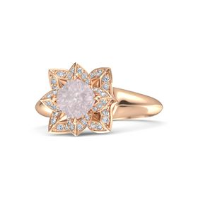 Cushion Rose Quartz 14K Rose Gold Ring with Diamond