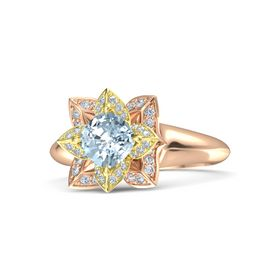 Cushion Aquamarine 14K Rose Gold Ring with Diamond