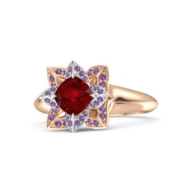 Cushion Ruby 14K Rose Gold Ring with Amethyst