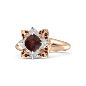 Cushion Red Garnet 14K Rose Gold Ring with White Sapphire and Red Garnet