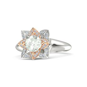 Cushion Green Amethyst 14K White Gold Ring with Diamond