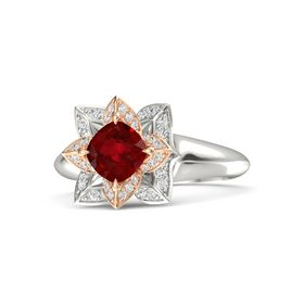 Cushion Ruby 14K White Gold Ring with White Sapphire