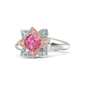 Cushion Pink Tourmaline 14K White Gold Ring with Pink Tourmaline and Blue Topaz