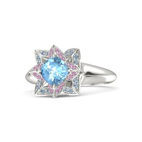 Cushion Blue Topaz 14K White Gold Ring with Pink Tourmaline and Blue Topaz
