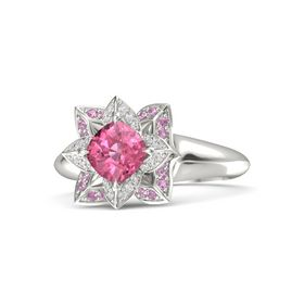 Cushion Pink Tourmaline 14K White Gold Ring with White Sapphire and Pink Tourmaline