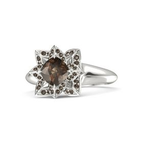 Cushion Smoky Quartz 14K White Gold Ring with Smoky Quartz