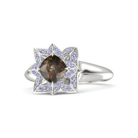 Cushion Smoky Quartz 14K White Gold Ring with Tanzanite