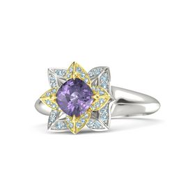 Cushion Iolite 14K White Gold Ring with Aquamarine
