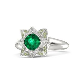 Cushion Emerald 14K White Gold Ring with White Sapphire and Peridot