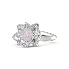 Cushion Rose Quartz 14K White Gold Ring with Diamond