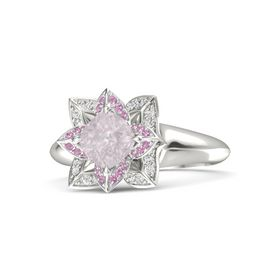 Cushion Rose Quartz 14K White Gold Ring with Pink Tourmaline and White Sapphire