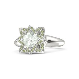 Cushion Green Amethyst 14K White Gold Ring with Peridot