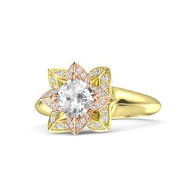 Cushion Rock Crystal 14K Yellow Gold Ring with White Sapphire