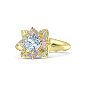 Cushion Aquamarine 14K Yellow Gold Ring with Aquamarine