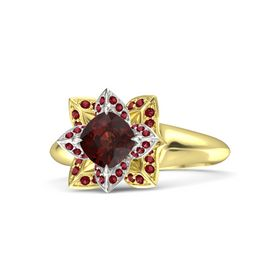 Cushion Red Garnet 14K Yellow Gold Ring with Ruby