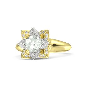 Cushion Green Amethyst 14K Yellow Gold Ring with White Sapphire
