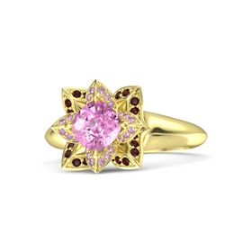 Cushion Pink Sapphire 14K Yellow Gold Ring with Pink Sapphire and Red Garnet