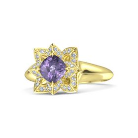 Cushion Iolite 14K Yellow Gold Ring with Diamond