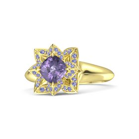 Cushion Iolite 14K Yellow Gold Ring with Iolite