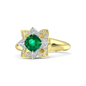 Cushion Emerald 14K Yellow Gold Ring with Diamond