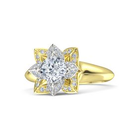 Cushion Moissanite 14K Yellow Gold Ring with Diamond
