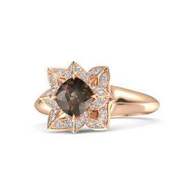 Cushion Smoky Quartz 18K Rose Gold Ring with Diamond
