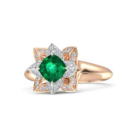 Cushion Emerald 18K Rose Gold Ring with Diamond