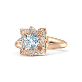 Cushion Aquamarine 18K Rose Gold Ring with Diamond
