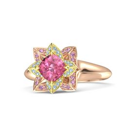 Cushion Pink Tourmaline 18K Rose Gold Ring with Aquamarine and Pink Tourmaline
