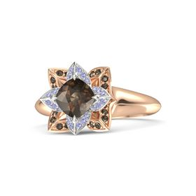 Cushion Smoky Quartz 18K Rose Gold Ring with Tanzanite and Smoky Quartz