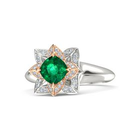 Cushion Emerald 18K White Gold Ring with Diamond