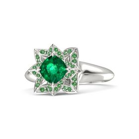 Cushion Emerald 18K White Gold Ring with Emerald