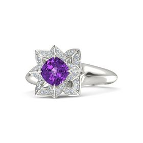 Cushion Amethyst 18K White Gold Ring with Diamond