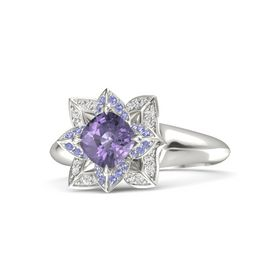 Cushion Iolite 18K White Gold Ring with Iolite and White Sapphire