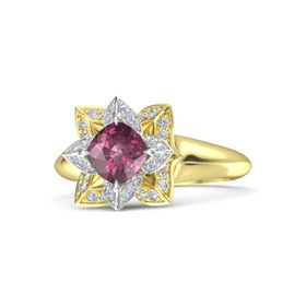 Cushion Rhodolite Garnet 18K Yellow Gold Ring with Diamond