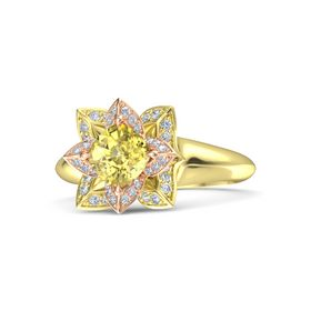 Cushion Yellow Sapphire 18K Yellow Gold Ring with Diamond