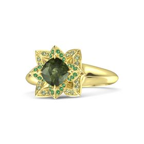 Cushion Green Tourmaline 18K Yellow Gold Ring with Emerald and Peridot