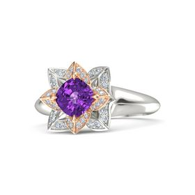 Cushion Amethyst Palladium Ring with Diamond