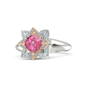 Cushion Pink Tourmaline Palladium Ring with Blue Topaz and Aquamarine