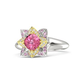 Cushion Pink Tourmaline Palladium Ring with White Sapphire and Pink Sapphire