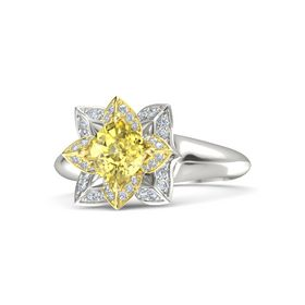 Cushion Yellow Sapphire Palladium Ring with Diamond