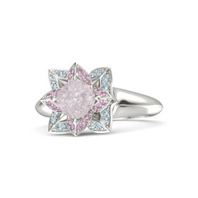 Cushion Rose Quartz Palladium Ring with Pink Sapphire and Aquamarine