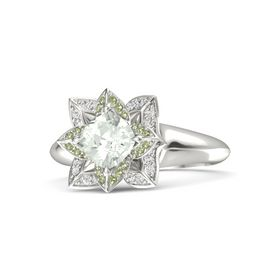 Cushion Green Amethyst Palladium Ring with Peridot and White Sapphire