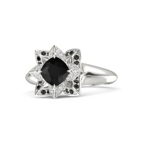 Cushion Black Onyx Palladium Ring with White Sapphire and Black Diamond
