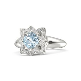 Cushion Aquamarine Palladium Ring with White Sapphire
