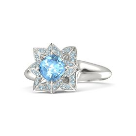 Cushion Blue Topaz Palladium Ring with Aquamarine