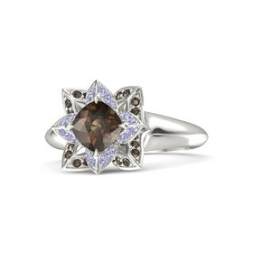 Cushion Smoky Quartz Palladium Ring with Tanzanite and Smoky Quartz
