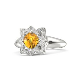 Cushion Citrine Palladium Ring with White Sapphire