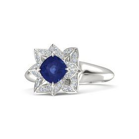 Cushion Blue Sapphire Palladium Ring with Diamond