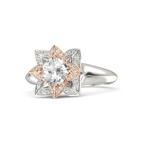 Cushion Rock Crystal Platinum Ring with White Sapphire